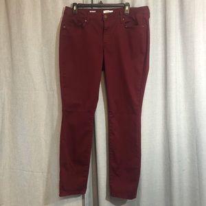 Sonoma velvety skinny jeans deep red size 14